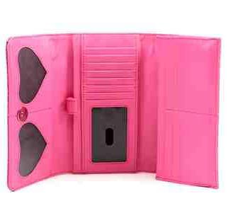 halloween skeleton hand wallet clutch by lux de ville pink