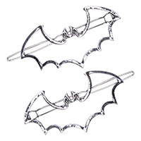 Bat Outline Pair of Hair Circle Clips by Kreepsville 666