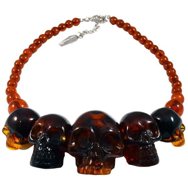 Skull Collection Necklace by Kreepsville 666 - Amber