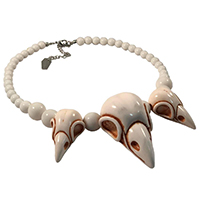 Raven Crow Skull Collection Necklace by Kreepsville 666 - White