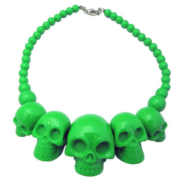 Skull Collection Necklace by Kreepsville 666 - Green
