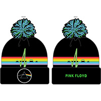 Pink Floyd- Dark Side Of The Moon on a black cuffed pom beanie