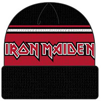 Iron Maiden- Logo on a black & Red cuffed beanie