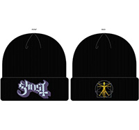 Ghost- Logo on a black cuffed beanie