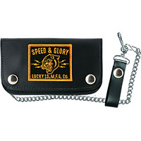 Panther Head Leather Patch Wallet by Lucky 13 - Black & Yellow