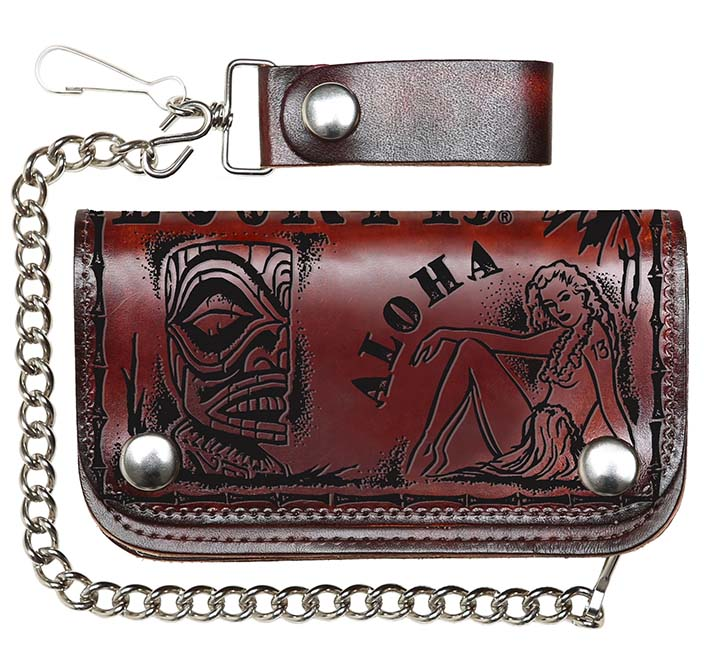 "Aloha Antiqued 6 "" Embossed wallet with chain by Lucky 13"