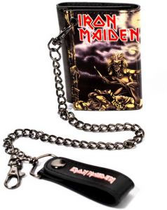 Iron Maiden- Eddie on a black leather wallet with chain