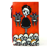 Sugar Skull Frida Girl with Flying Cats Clutch Wallet by Comeco