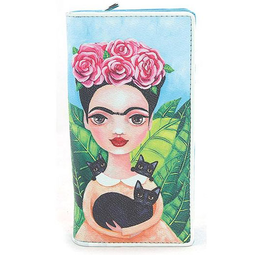 Frida & Black Cats Zip Bi-fold Wallet by Comeco