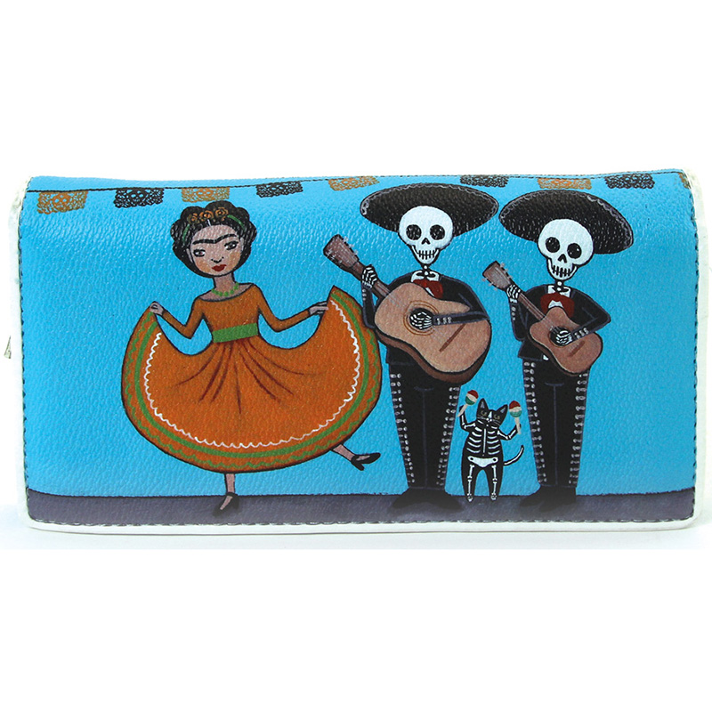 Dancing Frida & Maricachi Skeletons Zip Bi-fold Wallet by Comeco