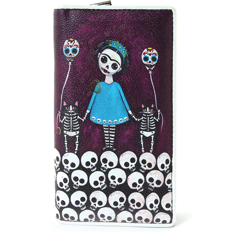 Day of the Dead Frida & Skeleton Cats Zip Bi-fold Wallet by Comeco