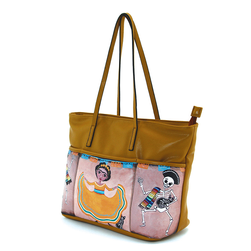 3 Pockets Dancing Frida & Maricachi Skeletons Tote by Comeco - in tan