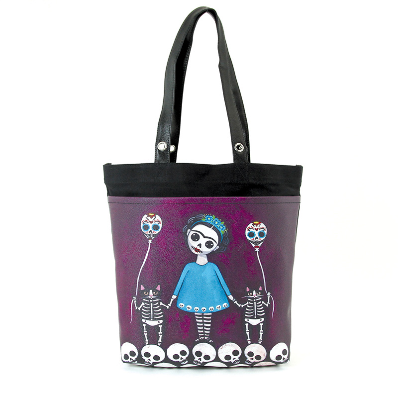 Day of the Dead Frida & Skeleton Cats Tote by Comeco - in purple