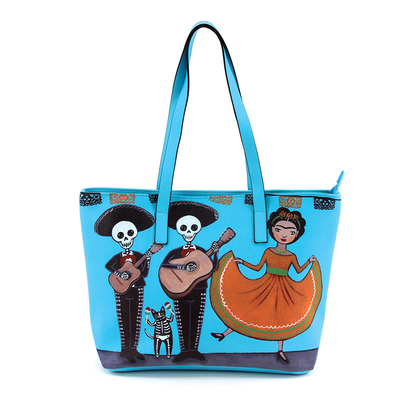 Dancing Frida & Maricachi Skeletons Tote by Comeco - in blue
