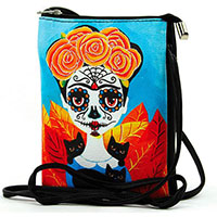 Day of the Dead Frida & Black Cats Cross-Body Bag by Comeco
