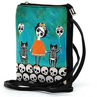 Day of the Dead Frida & Skeleton Cats Cross-Body Bag by Comeco