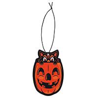 Vintage Halloween Pumpkin Cat Air Freshener by Sourpuss