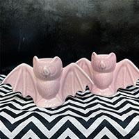 Pink Bat Candlestick Holders by Sourpuss