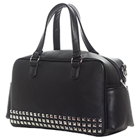 Pyramid Studded PVC Diaper Bag by Sourpuss - Black