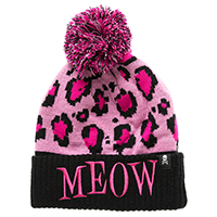 MEOW Pink Leopard Pom Beanie / Knit Hat by Sourpuss Clothing