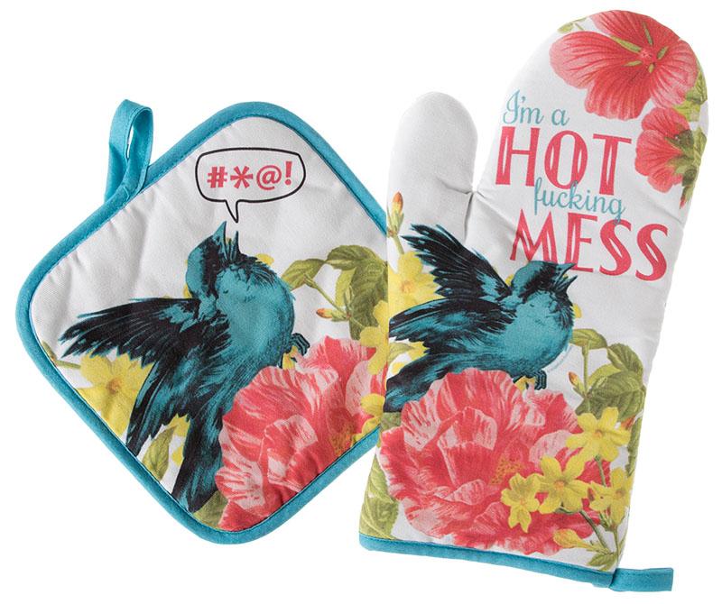 Hot Mess Oven Mitt & Pot Holder Set by Sourpuss