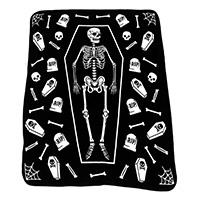 Skeleton Coffin Fleece Throw Blanket from Sourpuss