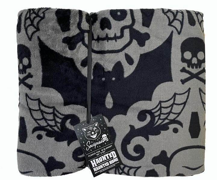 Spooky Damask Fleece Blanket from Sourpuss - Grey