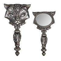 Sacred Cat Hand Mirror in antique silver by Alchemy of England