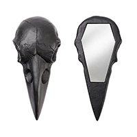 Raven Skull Hand Mirror by Alchemy of England - in black