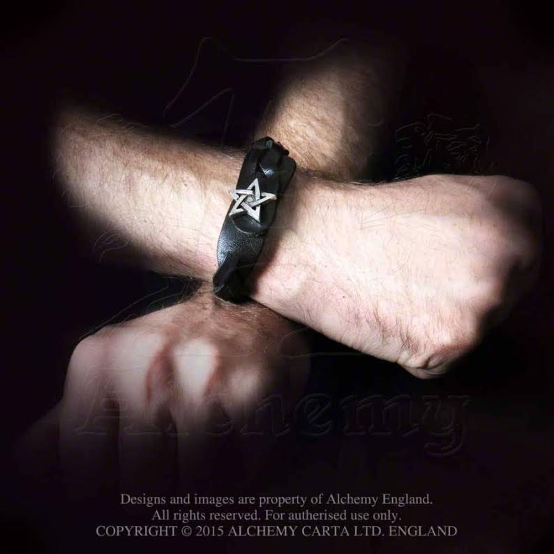 Pentagram Pewter & Leather Unisex Gaelic Plait Bracelet -by Alchemy England 1977