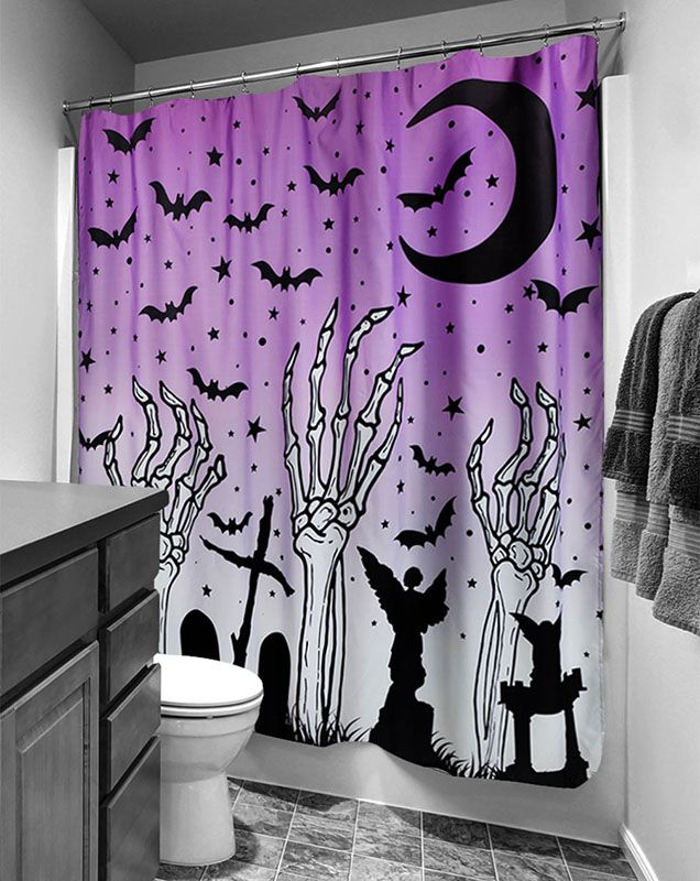 Skeletons Graveyard Shower Curtain from Too Fast Clothing