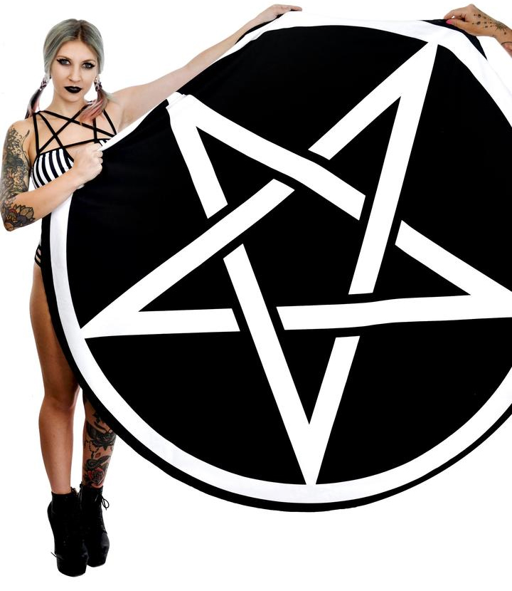 Pentagram Round Oversized Beach Towel by Rat Baby / Too Fast Clothing
