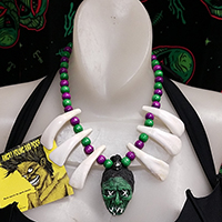 Shruken Head Handcrafted Tiki Necklace by The Stilettoed Devil - AYP Exclusive