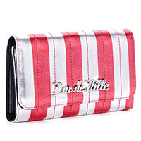 Bad Reputation Wallet by Lux De Ville- Silver & Red Metallic Stripes