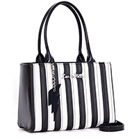 Bad Reputation Tote by Lux De Ville - Black Matte & White Stripes