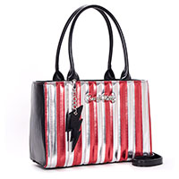 Bad Reputation Tote by Lux De Ville - Silver & Red Metallic Stripes