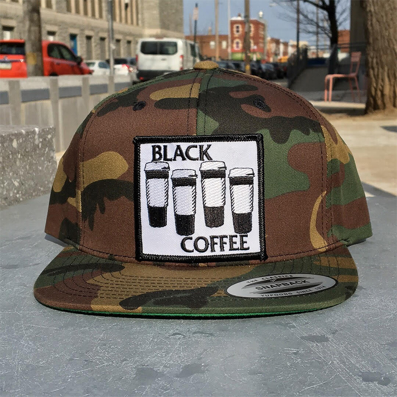Black Coffee Snapback Hat by Bort's Pin Emporium - on camo