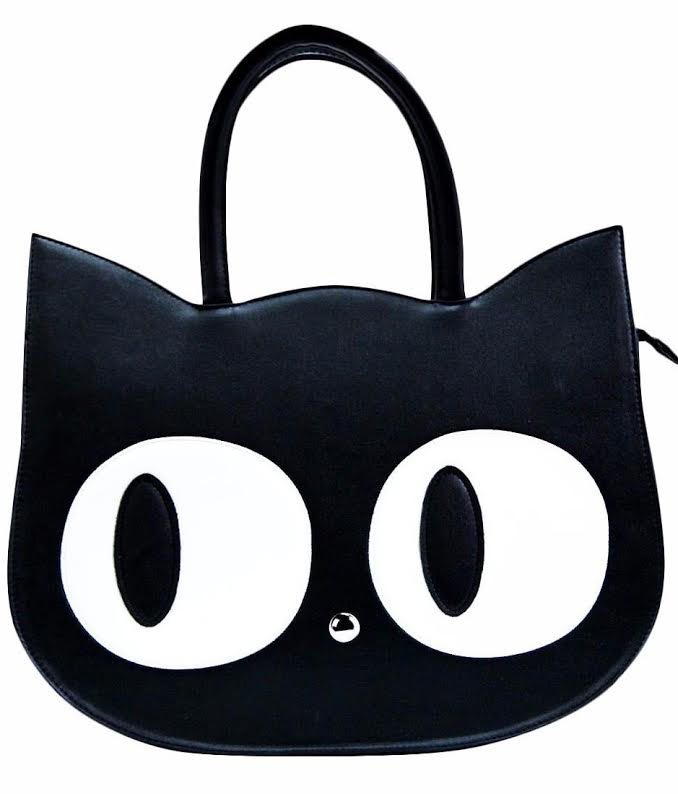 Heart Of Gold Black Cat Handbag by Banned Apparel in Black