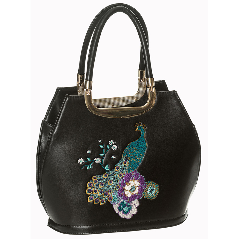 Mayuree Peacock Embroirdered 40's Handbag by Banned Apparel - in Black -  SALE