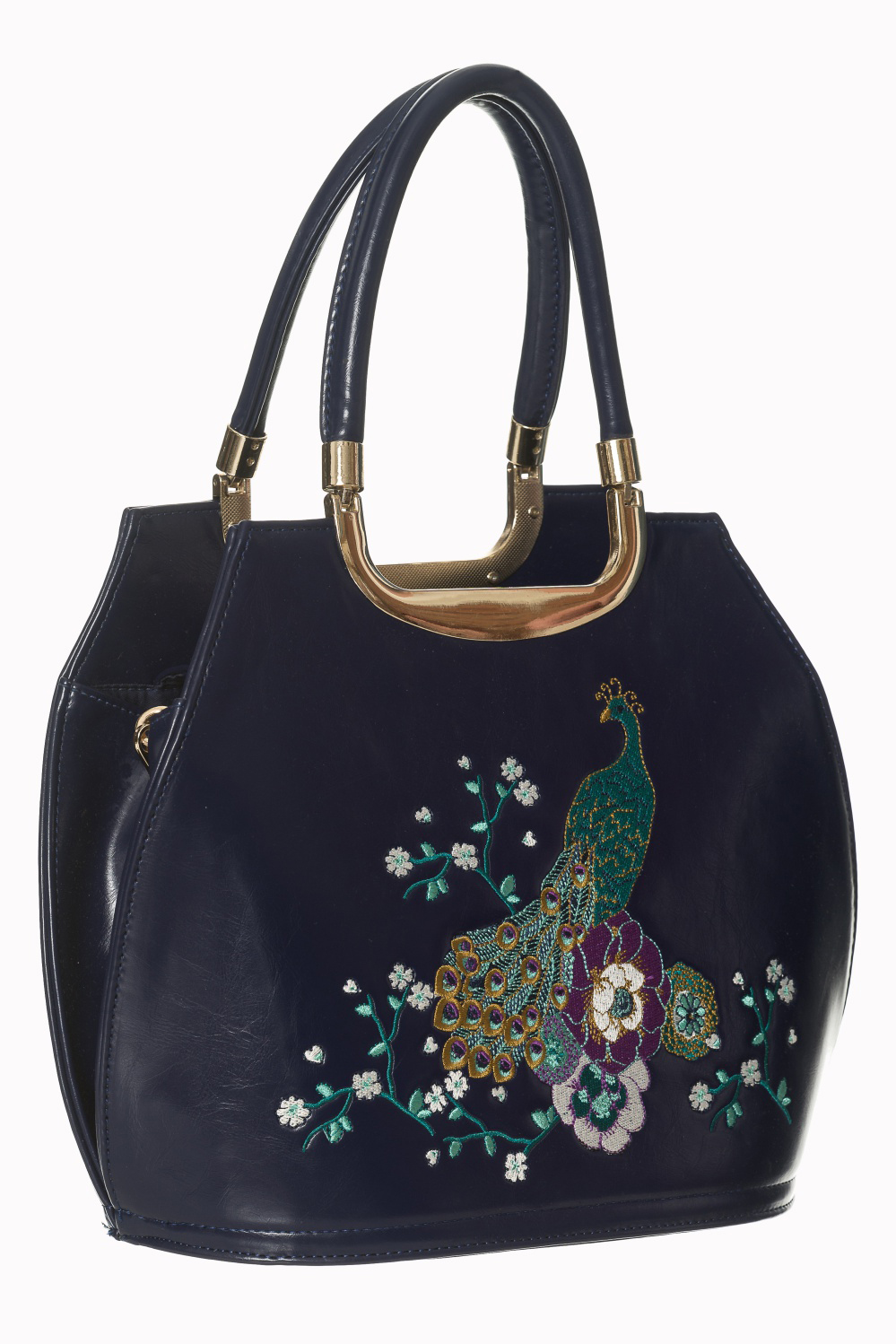 Mayuree Peacock Embroirdered 40's Handbag by Banned Apparel - in Midnight Blue - SALE