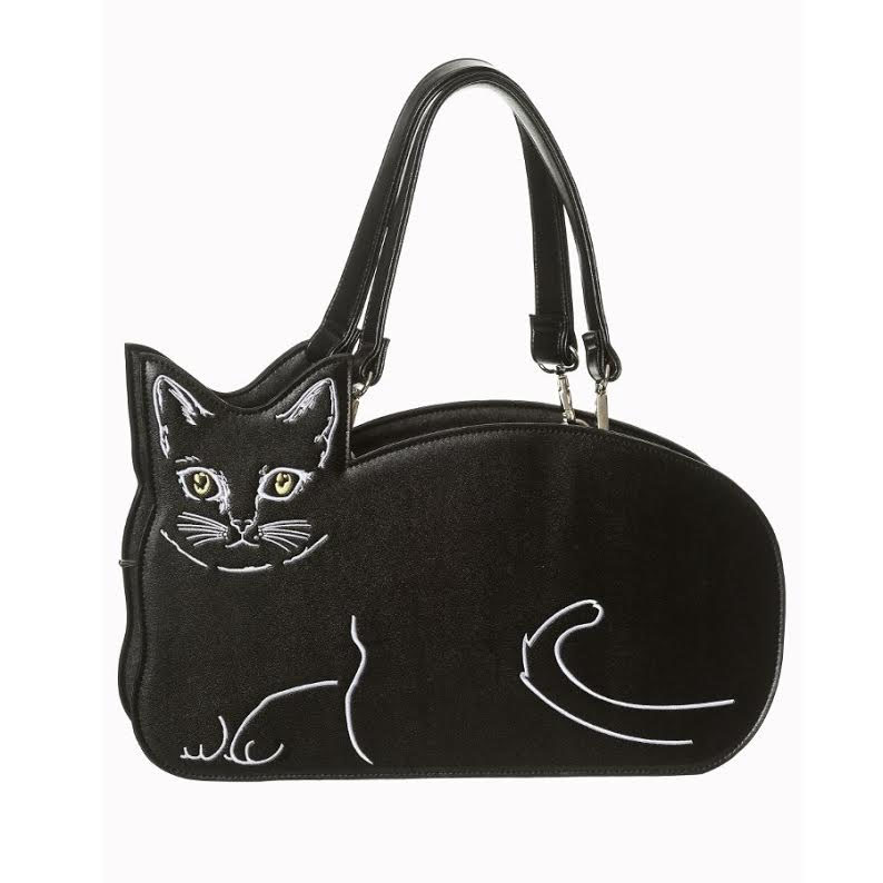 Kitty Kat Black Cat Handbag by Banned Apparel in Black
