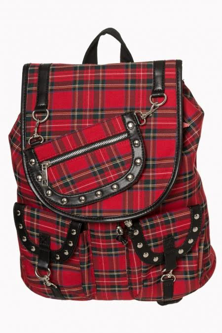 Yammy Red Plaid Bondage Strap Backpack by Banned Apparel