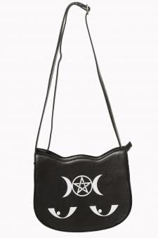 Occult Symbols Back to Black Cat Handbag by Banned Apparel in Black