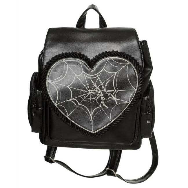 Gothic Rockwell Web Backpack by Banned Apparel - glows in the dark