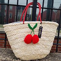 Cherry Pom Pom Retro 50's Wicker Bag by Voodoo Vixen