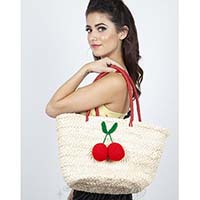 Cherry Pom Pom Retro 50's Wicker Bag by Voodoo Vixen