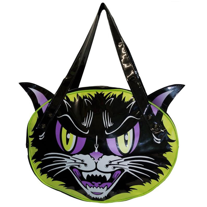 Kattitude Vinyl Black Cat  Shoulder Bag by Kreepsville 666