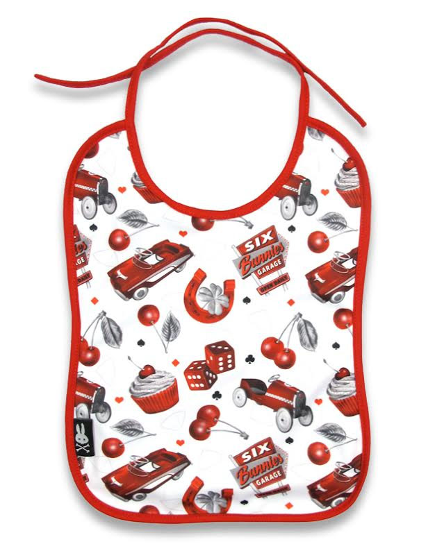 Cherry Garage Bib by Six Bunnies - SALE