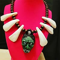 Shruken Head Handcrafted Tiki Necklace by The Stilettoed Devil - White Bone