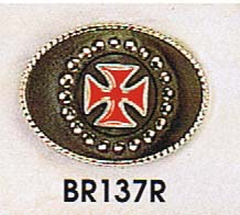 Metal Backed Black Leather Belt Buckle With Red Iron Cross (bb322)